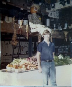 Son Donald on farmstand duty, 1978.