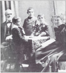 This portrait shows the third and fourth generations of Tilden farmers: John William, with his wife anna Kissam Tilden and their eldest son Charles and twin boys Leroy and Raymond. Roy would become the fourth generation upon taking over from his father. This carefully posed family portrait is from 1896!