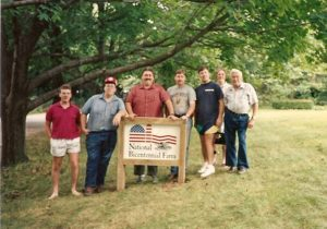 Herb, Mable, and thier sons at the installation of the farm's National Bicentennial Farm Marker.