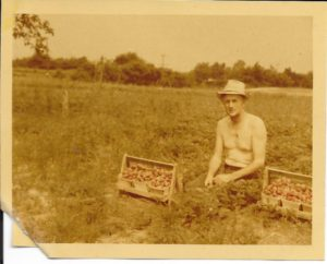 This image of Roy was taken sometime in the 1940s, as he takes a break while picking strawberries. Color film was a new development!