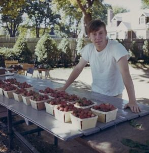 Bruce working at the strawberry stand in 1971.